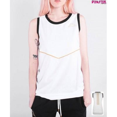 Camiseta tirantas Kappa Aitg blanca negro dorado