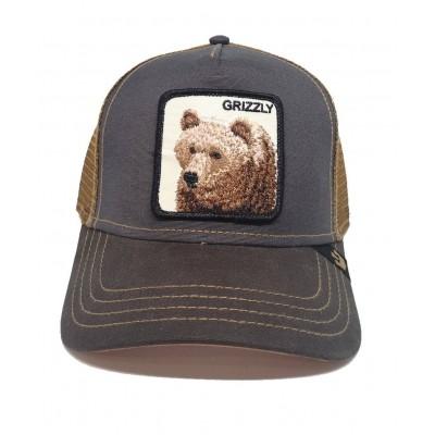 Gorra Goorin Bros Trucker Oso Grizzly Verde Oscuro-Marrón