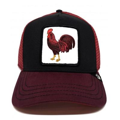 Gorra Goorin Bros Trucker Gallo Cock Negro-Rojo-Burdeos
