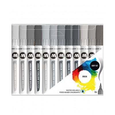 Pack 12 rotuladores Molotow Acuarelables de Pincel-set gris