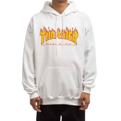 Sudadera THRASHER Flame Logo llamas blanca white