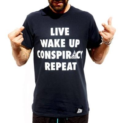 Camiseta Reptilians Conspiracy Repeat Black