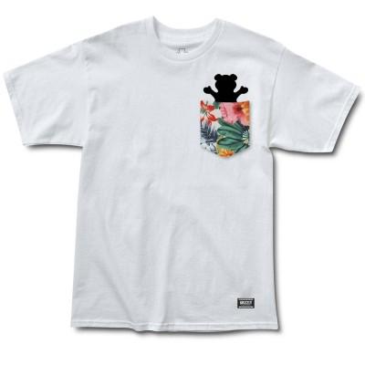 Camiseta Grizzly Botanical Pocket White
