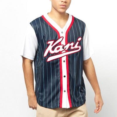 Camiseta beisbolera Karl Kani Varsity Block Pinstripe...