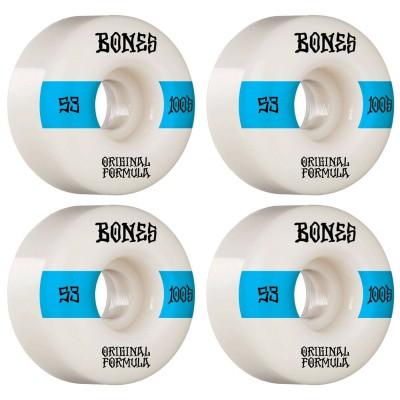 Ruedas Skate Bones 100 53MM V4 Wide 4PK White