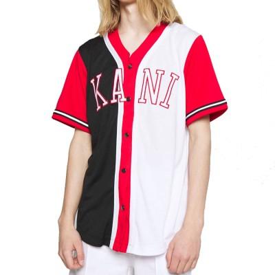 Camiseta beisbolera Karl Kani 6035460 Bicolor Negro Black