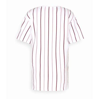 Camiseta Karl Kani Small Signature Pinstripe Rayas Blanco...