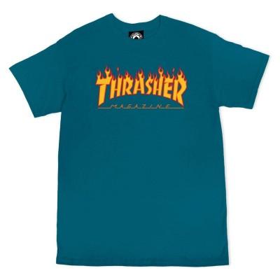 Camiseta Thrasher Flame Logo Galapagos Blue