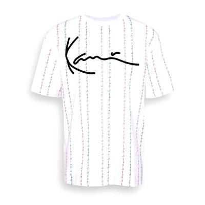 Camiseta Karl Kani Signature Logo Pinstripe Tee White...