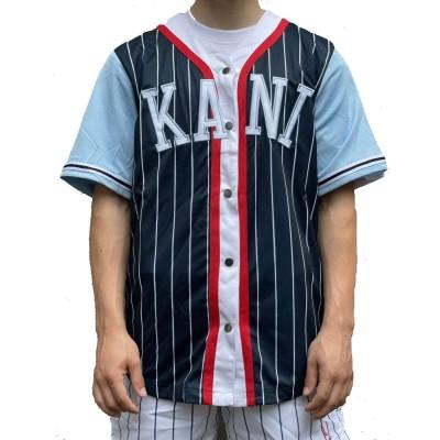Camiseta beisbolera Karl Kani College Block Pinstripe...