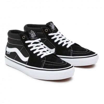 Zapatillas Vans Mn Skate Grosso Mid Black-White-Emo Leather