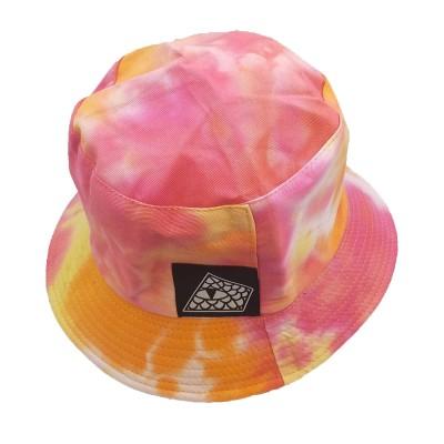 Gorro Bucket Reversible Reptilians Logo Tie Dye Rosa-Naranja