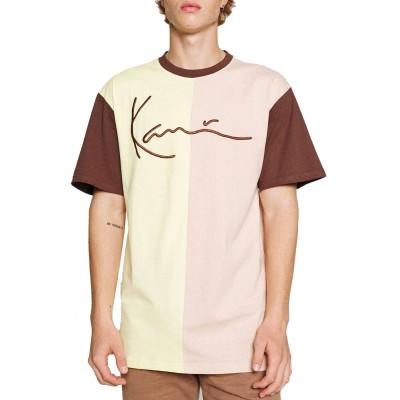 Camiseta  Karl Kani Signature Block Tee light yellow rose...