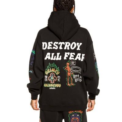 Sudadera Grimey Destroy All Fear Hoodie Negro Black