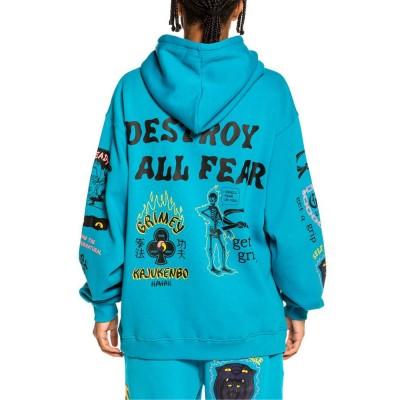 Sudadera Grimey Destroy All Fear Hoodie Azul Blue