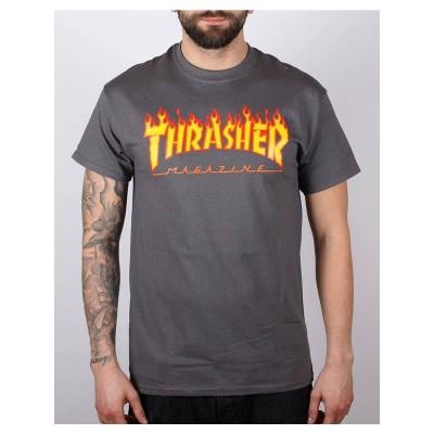 Camiseta Thrasher Flame Logo llamas gris